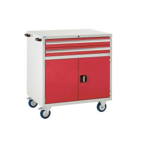 2 Drawer and Cupboard Euroslide Mobile Tool Cabinet - 980H 900W 650D - Red