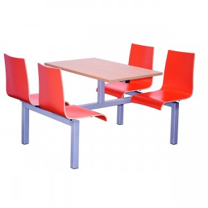 Hinton Heavy Duty 4 Seater Fixed Canteen Seating - Table and Chairs - Double Entry