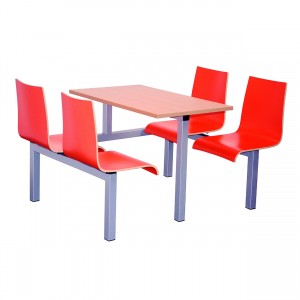 Hinton Heavy Duty 4 Seater Fixed Canteen Seating - Table and Chairs - Single Entry