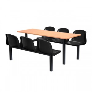 Harvey 6 Seater Fixed Canteen Seating - Table and Chairs - Single Entry