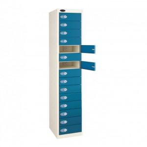 Probe 15 Door Charging Media Locker - 1780H 380W 525D (mm) - Blue Doors, Grey Carcass with Camlocks