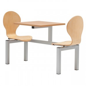 Purston 2 Seater Fixed Canteen Seating - Table and Chairs - Single Entry