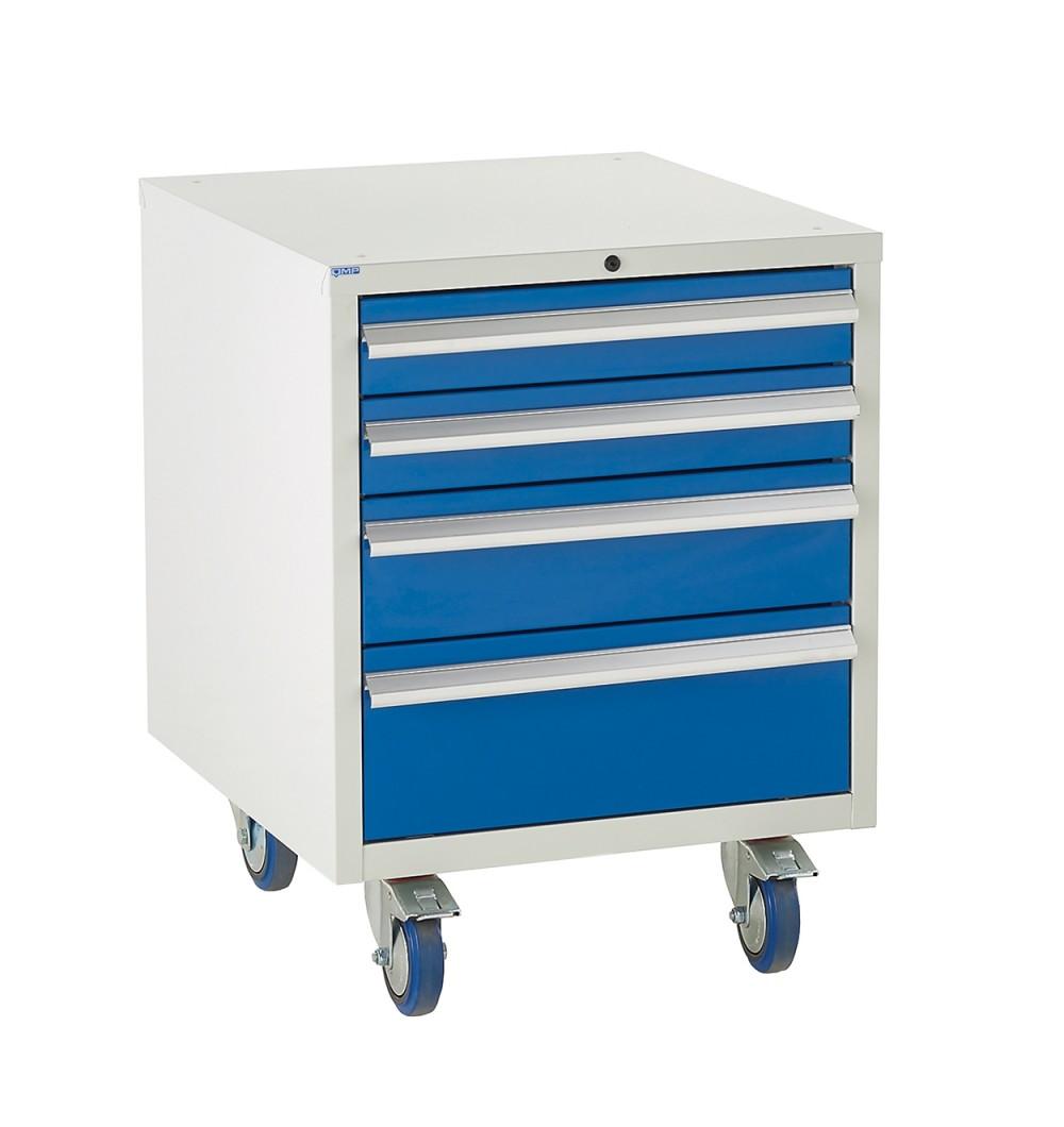 4 Drawer Euroslide Under Bench Tool Cabinet - 780H 600W 650D - Blue