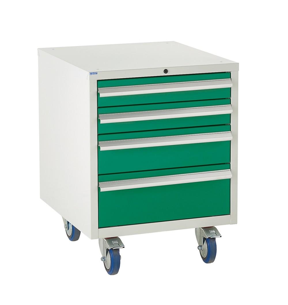 4 Drawer Euroslide Under Bench Tool Cabinet - 780H 600W 650D - Green