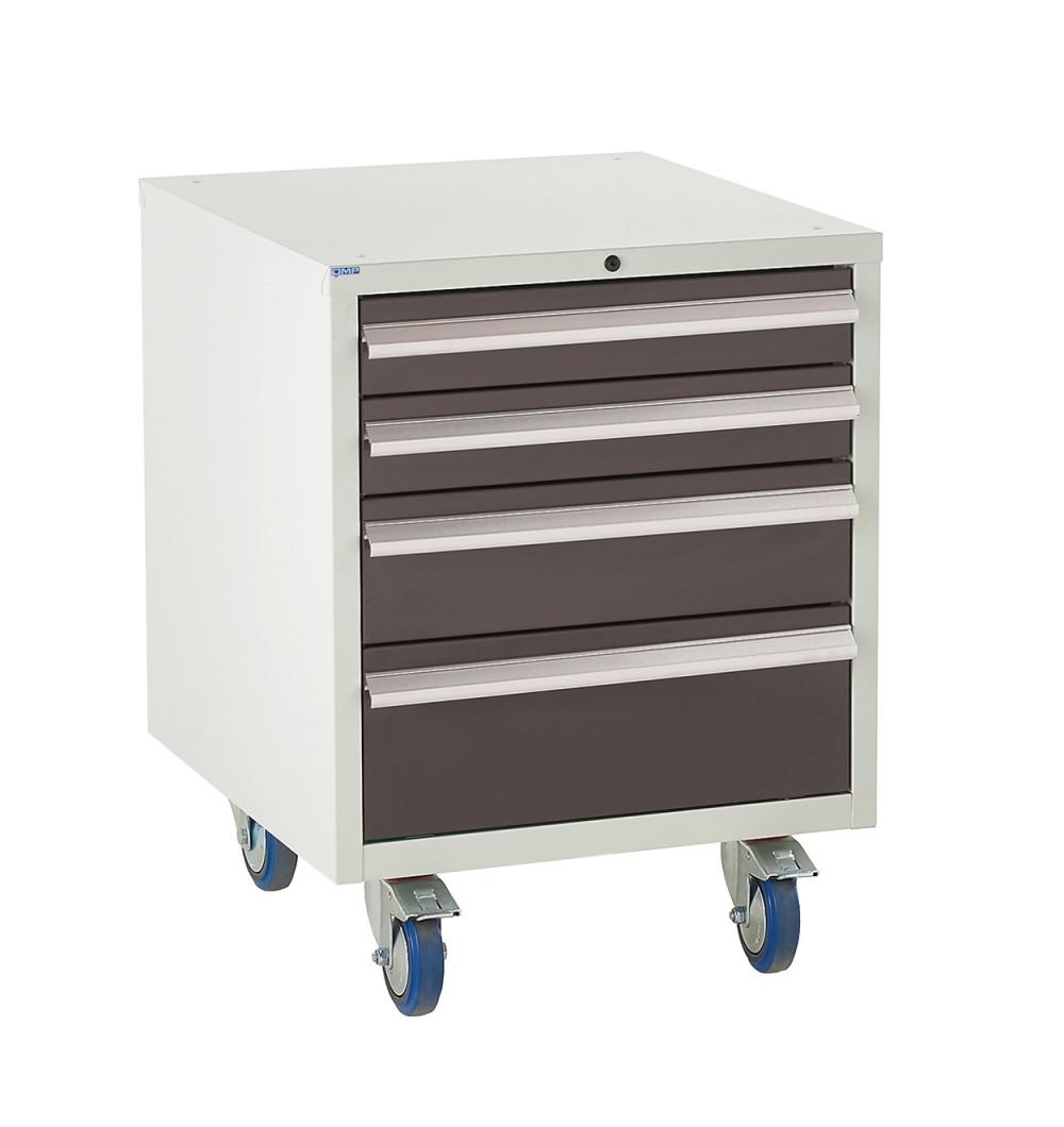 4 Drawer Euroslide Under Bench Tool Cabinet - 780H 600W 650D - Black