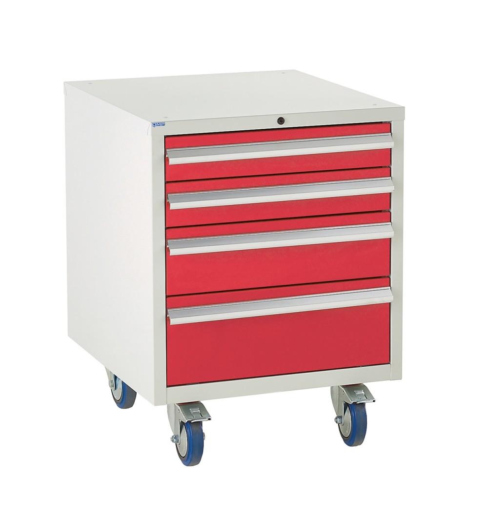 4 Drawer Euroslide Under Bench Tool Cabinet - 780H 600W 650D - Red
