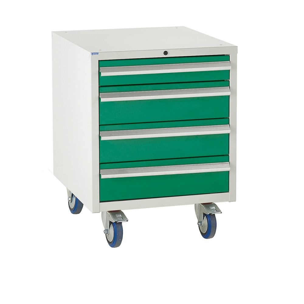 4 Drawer Euroslide Under Bench Tool Cabinet 2 - 780H 600W 650D - Green