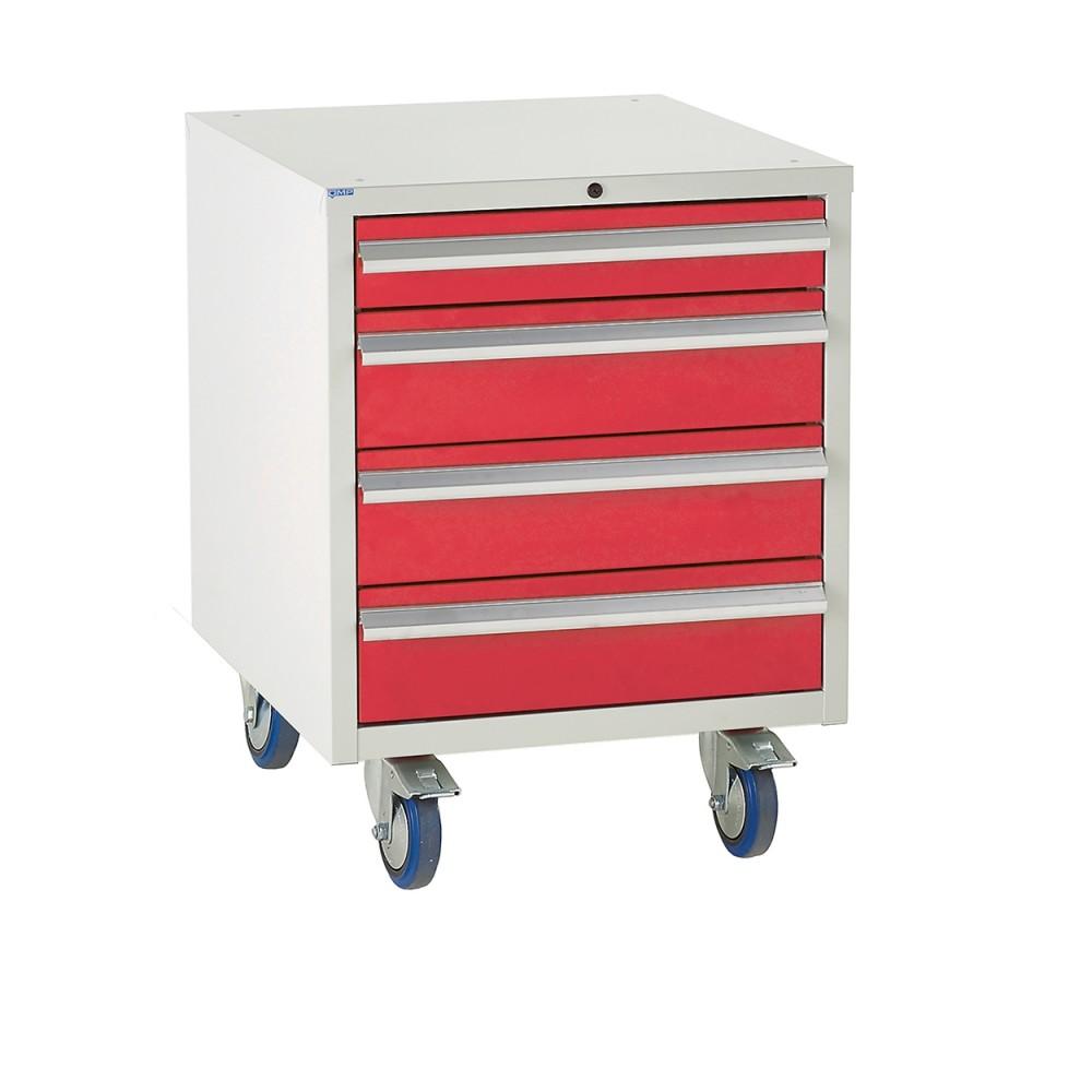 4 Drawer Euroslide Under Bench Tool Cabinet 2 - 780H 600W 650D - Red