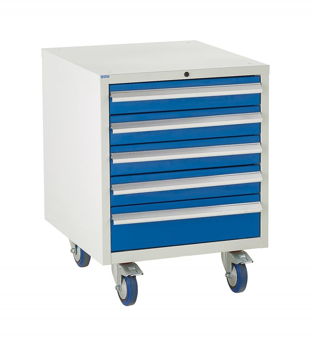 5 Drawer Euroslide Under Bench Tool Cabinet - 780H 600W 650D - Blue