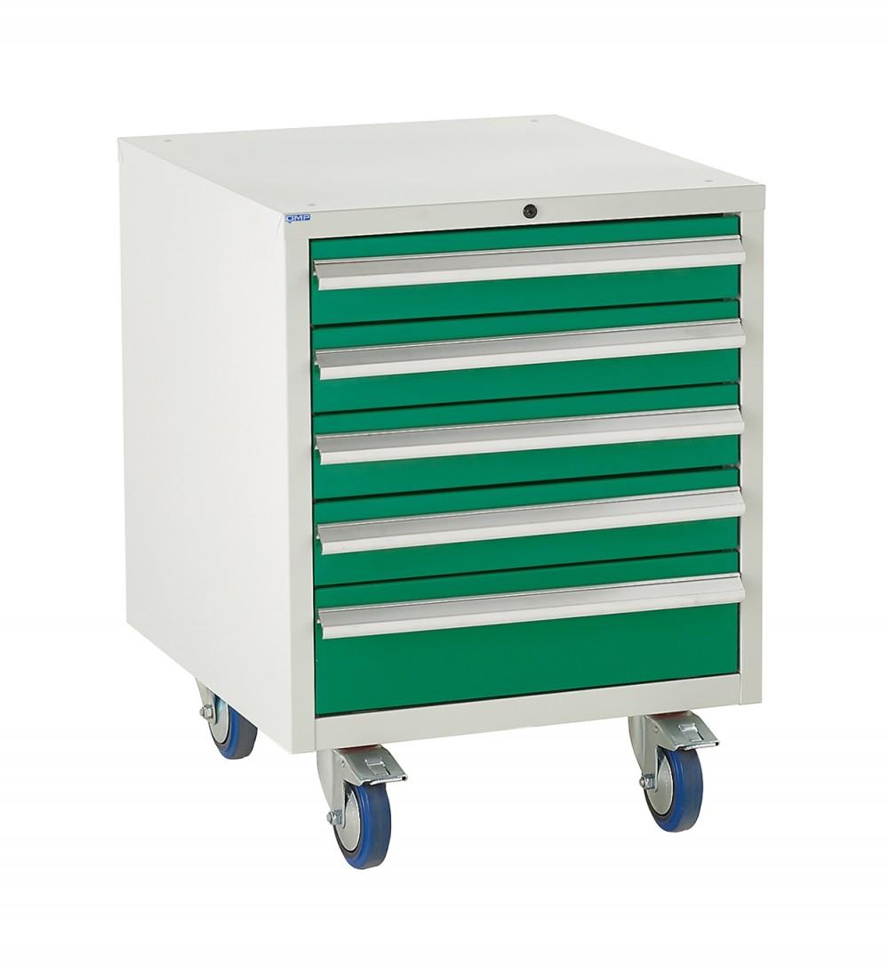5 Drawer Euroslide Under Bench Tool Cabinet - 780H 600W 650D - Green