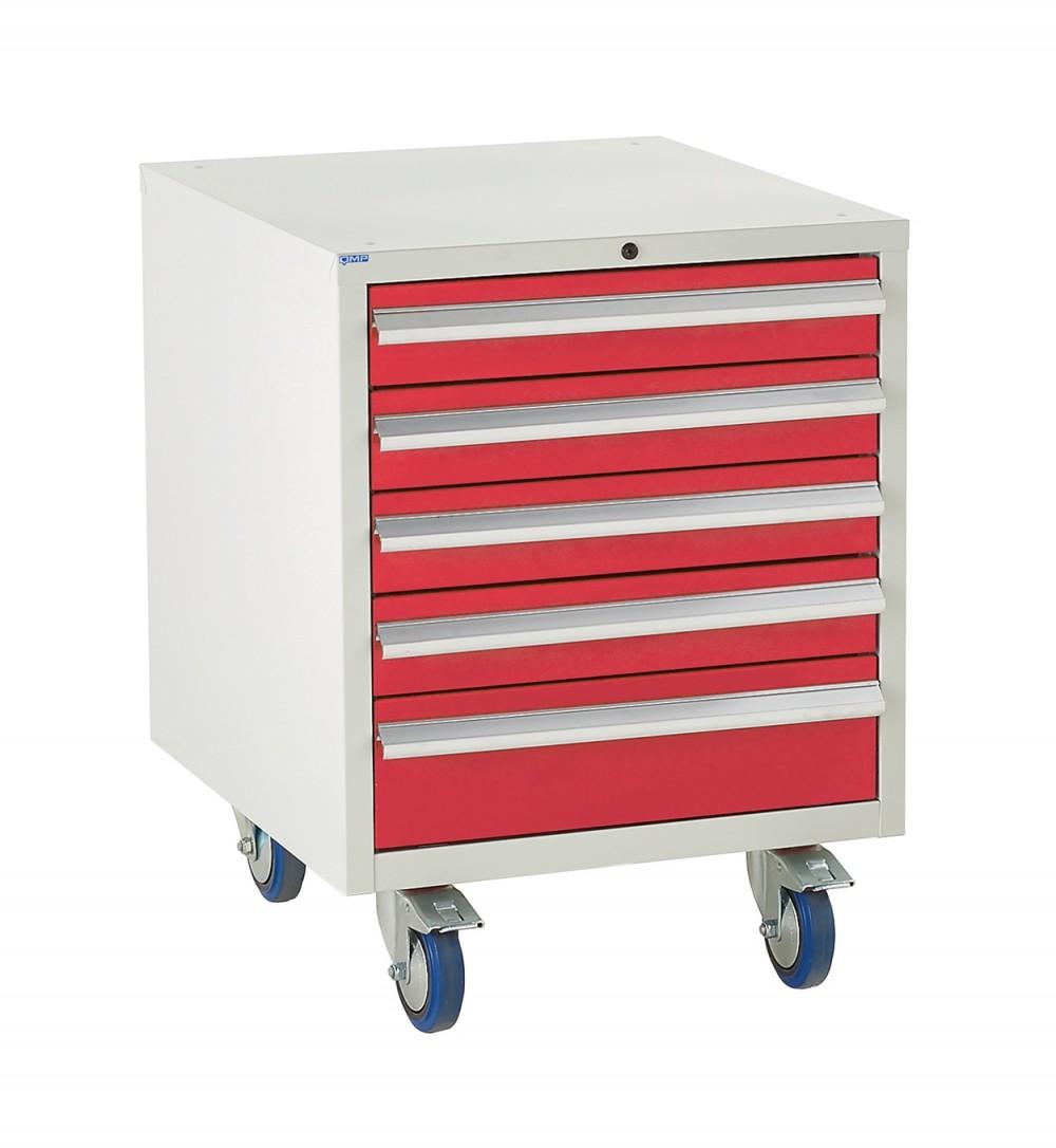 5 Drawer Euroslide Under Bench Tool Cabinet - 780H 600W 650D - Red