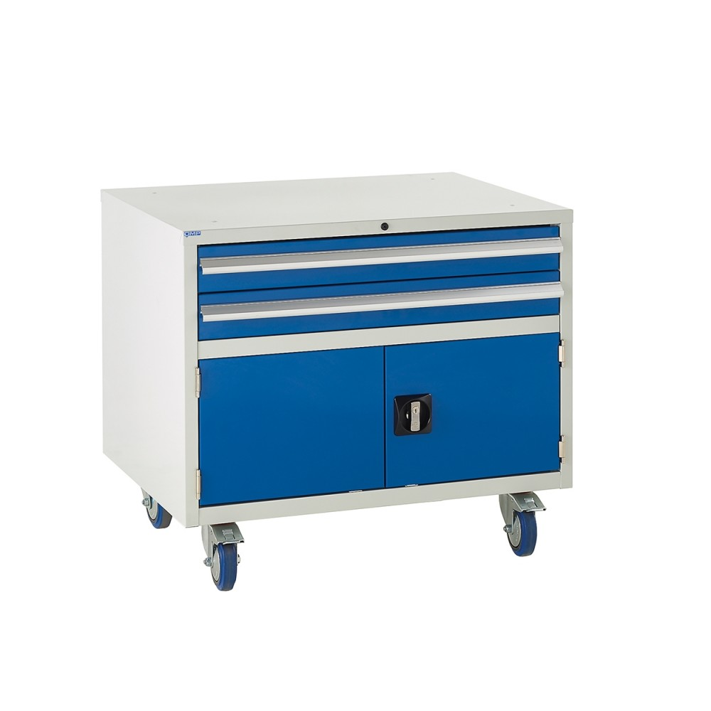 2 Drawer and Cupboard Euroslide Under Bench Tool Cabinet - 780H 900W 650D - Blue