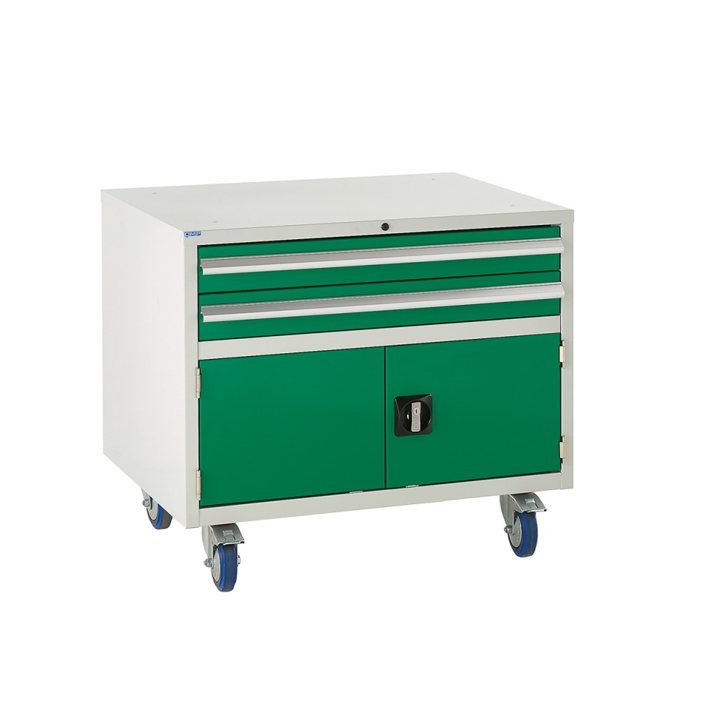 2 Drawer and Cupboard Euroslide Under Bench Tool Cabinet - 780H 900W 650D - Green