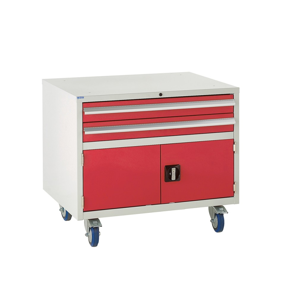 2 Drawer and Cupboard Euroslide Under Bench Tool Cabinet - 780H 900W 650D - Red