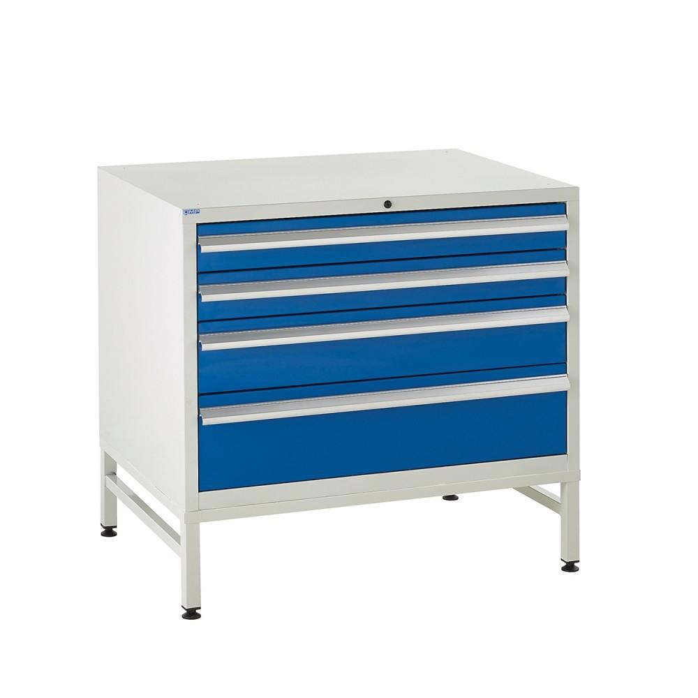 4 Drawer Euroslide Under Bench Tool Cabinet  1 - 780H 900W 650D - Blue