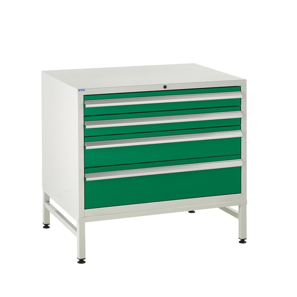 4 Drawer Euroslide Under Bench Tool Cabinet  1 - 780H 900W 650D - Green