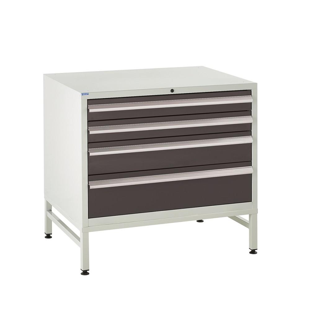 4 Drawer Euroslide Under Bench Tool Cabinet  1 - 780H 900W 650D - Black
