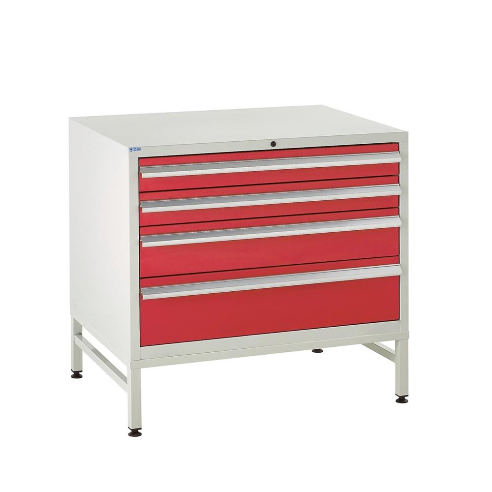 4 Drawer Euroslide Under Bench Tool Cabinet  1 - 780H 900W 650D - Red