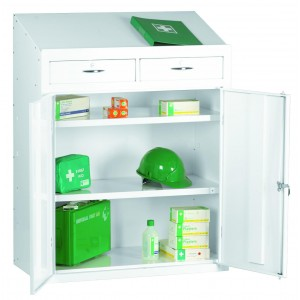First Aid Medical Lectern Cabinet - 1200H 915W 457D (mm) - Mobile Base