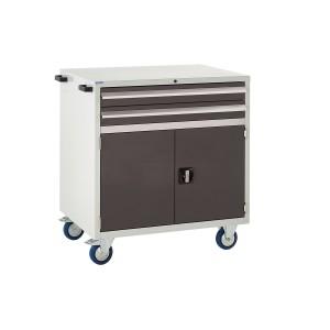 2 Drawer and Cupboard Euroslide Mobile Tool Cabinet - 980H 900W 650D - Black