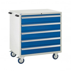 5 Drawer Euroslide Mobile Tool Cabinet - 980H 900W 650D - Blue
