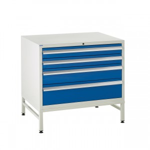 4 Drawer Euroslide Under Bench Tool Cabinet  1 - 780H 900W 650D - Blue