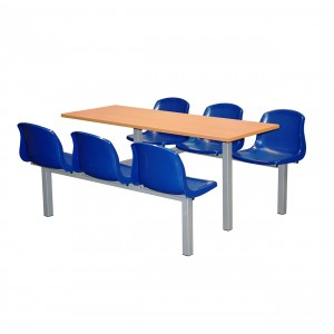 Mixbury 6 Seater Fixed Canteen Seating - Table and Chairs - Double Entry