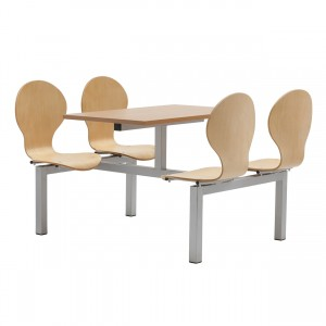 Purston 4 Seater Fixed Canteen Seating - Table and Chairs - Double Entry