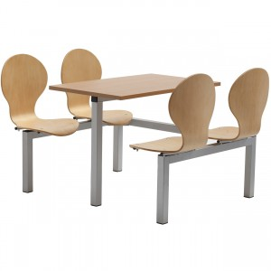 Purston 4 Seater Fixed Canteen Seating - Table and Chairs - Single Entry