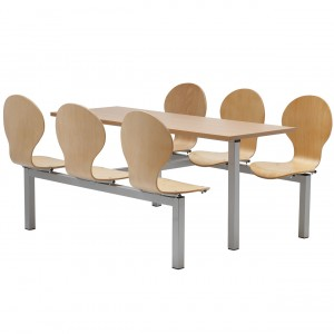Purston 6 Seater Fixed Canteen Seating - Table and Chairs - Double Entry