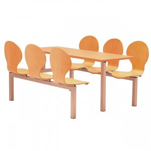 Purston 6 Seater Fixed Canteen Seating - Table and Chairs - Single Entry